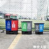 分類帶蓋雙桶可回收干濕分離垃圾桶戶外腳踏式20L家用大號廚房QM『摩登大道』