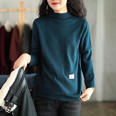 莫代爾包芯紗毛衣 復古半高領長袖針織衫/4色-夢想家-1021
