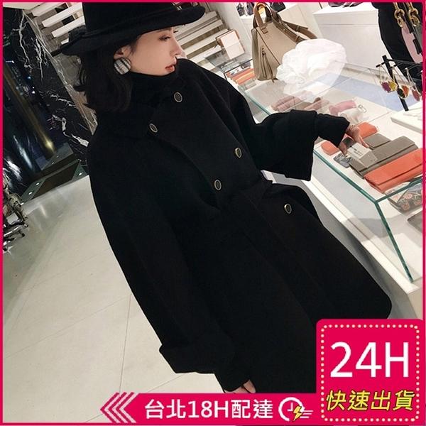 【現貨】梨卡-時尚保暖翻領系帶毛呢防風大衣-寬鬆顯瘦中長款毛呢西裝領大衣BR1025