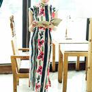 唐寶-唐寶旗袍 百搭 棉麻 印花 亞麻 高領 全盤扣 平肩小連袖 修飾 長款 旗袍
