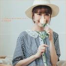 洋裝 森林系蕾絲領包釦格紋棉麻洋裝 單色-小C館日系