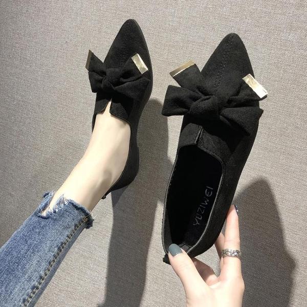 低跟鞋蝴蝶結單鞋女平跟2020春季新款韓版低跟尖頭小皮鞋方跟平底工作鞋