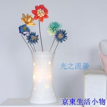 特惠 創意檯燈臥室床頭宜家北歐溫馨浪漫插花白色陶瓷裝飾檯燈(光之流螢-不贈送燈泡)
