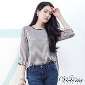 Victoria 後蝴蝶垂墬變化七分袖T-女-黑條