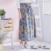 【Tiara Tiara】百貨同步 森林系花葉腰綁帶半身裙(黃) 店推 新品穿搭