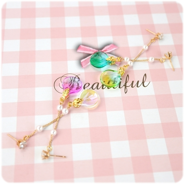 耳環 琉璃 珍珠 花の弁 耳環座可選搭 (單只價) i917ღ