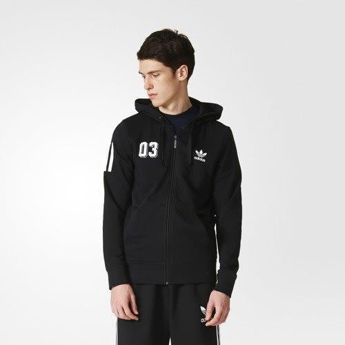 *adidas 愛迪達 originals 三葉草 LOGO 黑 連帽外套 保暖 男 AZ1066