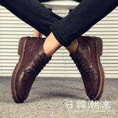 馬丁鞋  高幫馬丁靴男英倫風潮靴子中幫短靴韓版百搭男士冬季加絨休閑皮鞋