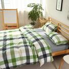 R.Q.POLO『水洗棉系列-綠灰格』雙人標準薄被套床包四件組(5X6.2尺)