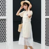 吊帶裙-網紗韓版時尚透視罩衫女背帶裙2色73rx36【巴黎精品】