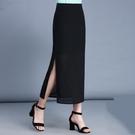 2021春夏新款雪紡半身裙長裙高腰側開叉包臀裙中長款一步裙包裙女 快速出貨