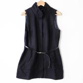 【MASTINA】立領長版背心外套(附腰帶)-藍 好康優惠