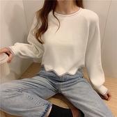 套頭針織 白色針織衫純秋冬季女裝長袖上衣打底衫短款寬鬆薄款毛衣 芊墨左岸