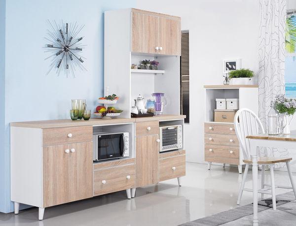 【森可家居】小北歐3尺餐櫃(下座) 7JX211-2  矮廚房收納櫃 碗盤碟中島 木紋質感 無印北歐鄉村風