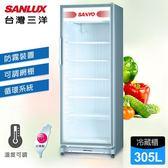 康寧透明玻璃保鮮盒4件組【台灣三洋 SANLUX】305公升直立式冷藏櫃 /C