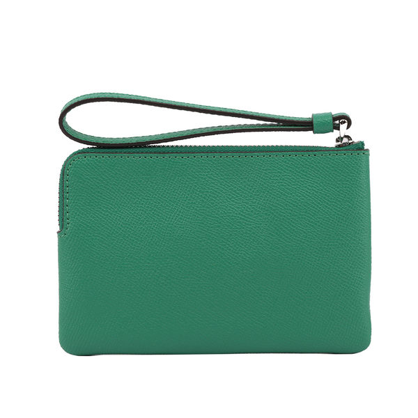【COACH】L型皮革拉鍊手拿包(綠色) F58032 SVGN