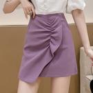 A字裙 紫色半身裙女夏季新款高腰顯瘦a字短裙荷葉邊一步裙子魚尾包臀裙
