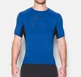 UA HeatGear Armour [1257468-789] 男 短袖 強力 伸縮 運動 訓練 快速排汗 上衣 藍