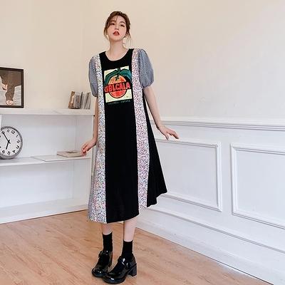 胖妹妹大碼洋裝連身裙~6545大碼碎花拼接設計感短袖連身裙DC109胖妹大碼女裝