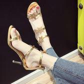 細跟涼鞋新款涼鞋女夏韓版細跟露趾鉚釘五角星後拉鍊高跟鞋軟妹羅馬鞋限時一天下殺8折
