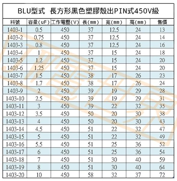 啟動電容0.8uF耐壓450V長形膠殼PIN腳BLU[1403-03]