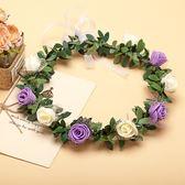 [紫白雙色玫瑰花 人造花髮帶 仿真花花圈 花冠假花環] 婚禮小物 生日禮物 求婚&畢業表演花禮