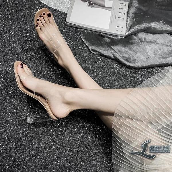 透明高跟鞋女涼鞋外穿粗跟涼拖中跟水晶拖鞋【邻家小鎮】