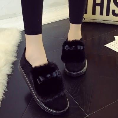 低筒雪靴-時尚簡約保暖蝴蝶結女厚底靴子3色73kg63[巴黎精品]