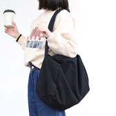 帆布單肩包-簡約大容量休閒百搭女側背包2色73wo9【巴黎精品】