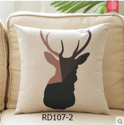 諾典北歐幾何鹿頭棉麻抱枕汽車腰枕沙發抱枕靠墊套辦公室沙發靠枕