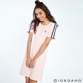【GIORDANO】女裝企鵝刺繡織帶短袖連身裙-29 草莓粉紅