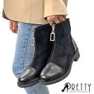 BA-2A951 女款短靴 異材質拼接方形水鑽拉鍊粗跟短靴【PRETTY】
