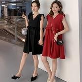 漂亮小媽咪 韓系 小香風 荷葉洋裝【D8131】 無袖 純色 飛袖 V領 孕婦裝 洋裝 實拍 []
