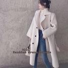 依Baby 大衣 韓國秋冬必備凹造型翻領長款仿羊毛大衣