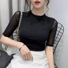 打底小衫女春秋新款洋氣內搭圓領中袖上衣修身時尚短袖t恤 三角衣櫃