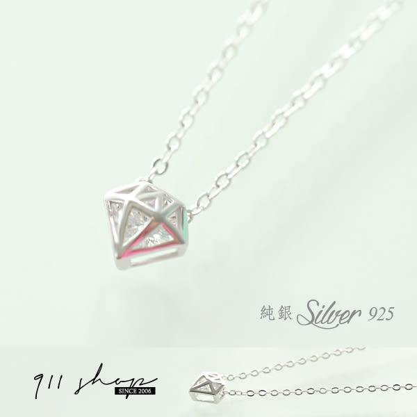 Cozy.925純銀幾何立體鑽石造型亮鑽短項鍊鎖骨鏈【s129】*911 SHOP*