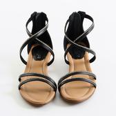 DeSire  交叉水鑽羅馬涼鞋 -黑
