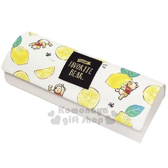 〔小禮堂〕迪士尼 小熊維尼 半圓皮質硬殼眼鏡盒《綠黃.檸檬》附眼鏡布.收納盒 4979274-06996