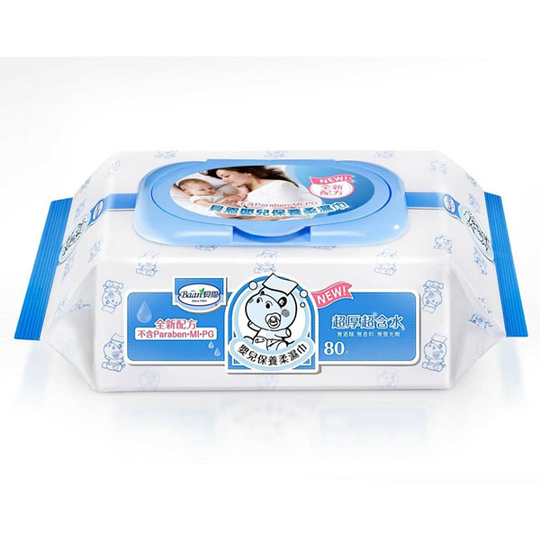 【奇買親子購物網】貝恩Baan NEW嬰兒保養柔濕巾80抽1入