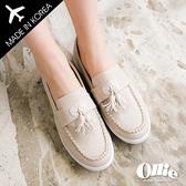 [現貨] ollie 正韓製 文青LOOK 牛仔帆布 流蘇寬帶 Q軟底 好搭配樂福懶人鞋【F720504】