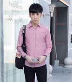 條紋襯衫男長袖修身帥氣青年休閒襯衣男士寸衫潮 糖果時尚