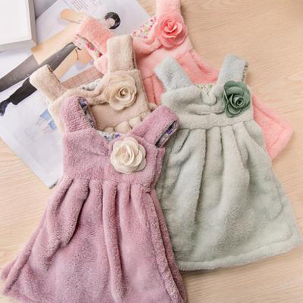 Qmishop 可愛連身裙加厚珊瑚絨擦手巾 吸水掛式廚房毛巾【J303】