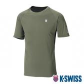 【超取】K-SWISS Reflective Logo Tee W/Mesh排汗T恤-男-橄欖綠