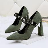 尖頭高跟鞋性感粗跟鞋 一字帶顯瘦鞋【多多鞋包店】z7028