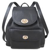 COACH 鵝卵石紋皮革旋扣雙肩後背包 (海軍藍色、小款)-37581
