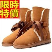 雪靴-真皮加絨時尚綁帶中筒女靴子8色64r11[巴黎精品]