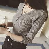 秋冬新款打底衫針織長袖T恤女百搭顯瘦套頭v領毛衣緊身內搭上衣服寶貝計畫