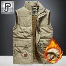 JPDUN冬季休閒馬甲男外套加絨加厚中年爸爸大碼寬鬆保暖背心夾克 小山好物