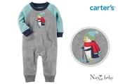 【美國Carter's】長袖保暖刷毛連身衣- 溜冰企鵝 #118H392