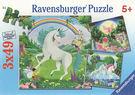 【Ravensburger 維寶(RV)】盒裝拼圖-獨角獸與精靈(3*49片) #092253